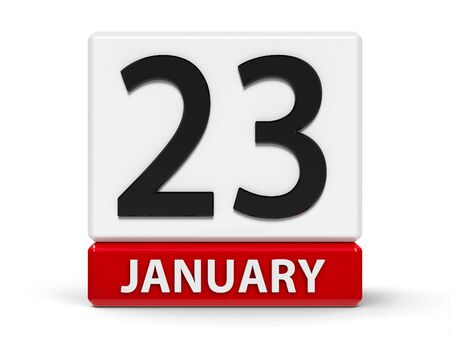 Red and white calendar icon from cubes - The Twenty Third of January - on a white table - National Handwriting Day, three-dimensional rendering, 3D illustration