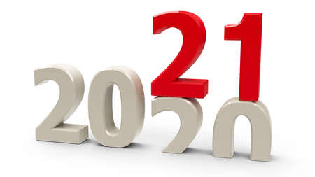 2020-2021 change represents the new year 2021, three-dimensional rendering, 3D illustration Stock fotó