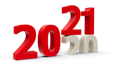 2020-2021 change represents the new year 2021, three-dimensional rendering, 3D illustration Zdjęcie Seryjne