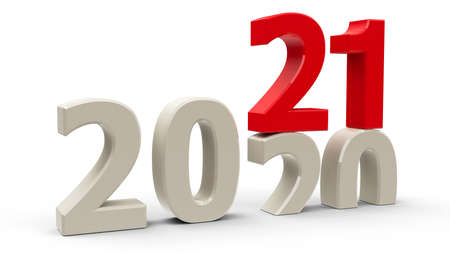2020-2021 change represents the new year 2021, three-dimensional rendering, 3D illustration Stock Photo