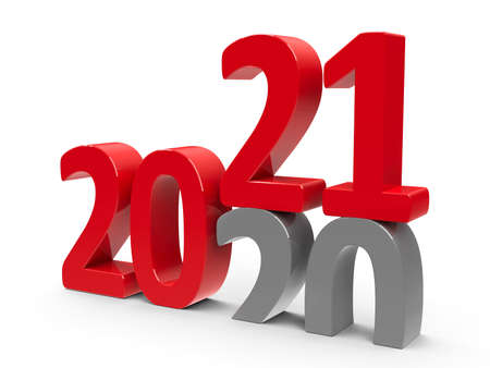 2020-2021 change represents the new year 2021, three-dimensional rendering, 3D illustration Reklamní fotografie