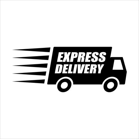 Express Delivery Van on white background.