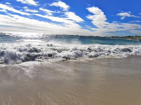 beachfront: Waves Atlantic Ocean near the beach Camps Bay, Cape Town Stock Photo