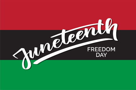 Juneteenth freedom day, hand-written text, typography, hand lettering, calligraphy. Hand writing of the word Juneteenth, june 19, on a flag for holiday postcard, greeting card, flyer, banner, poster Иллюстрация