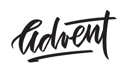Advent -  hand-written text, typography, calligraphy, lettering. Vector writing in one color, for cutout template, label, tagline, title, headline, emblem,  banner, flyer, poster, greeting card
