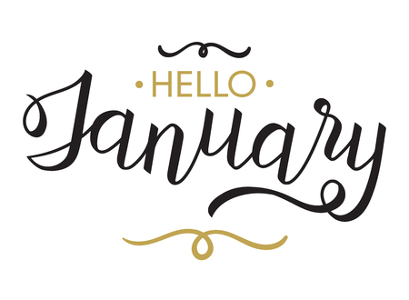 Hello, January - typography, hand lettering calligraphy for calendar, note books, diary, greeting card, banner, poster, vinyl cutting. Hello January vector illustration