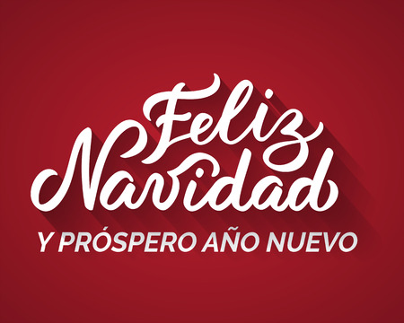 Merry Christmas and a Happy New Year from Spanish. Hand-written text, words, typography, calligraphy, lettering. Vector white inscription on red background. For banner, flyer, poster, greeting card Illustration