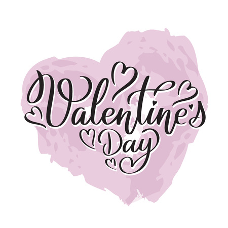 Happy Valentine's day vector card. Happy Valentine's Day lettering. Hand drawn heart. Illustration