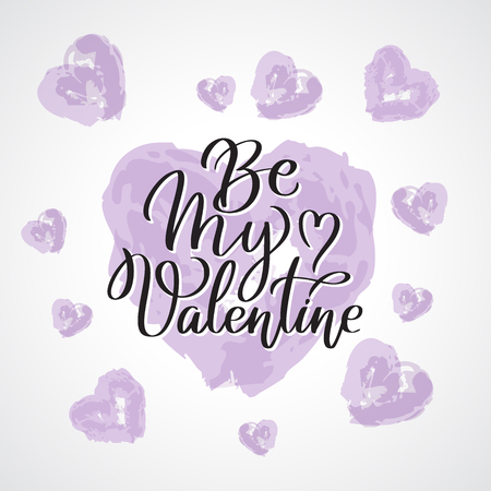 Be my Valentine. Valentines day greeting card with calligraphy on purple heart. Hand drawn design elements. Handwritten modern brush lettering.