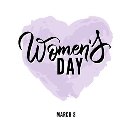 Happy Womens Day hand written lettering text, calligraphy. typography. Vector black writing on watercolor heart. Card. flyer, banner, poster, label, tag template Stok Fotoğraf - 114404944