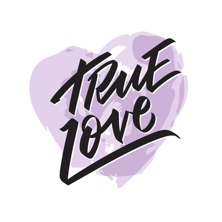 True Love writing - Valentine lettering text, callygraphy. Hand written words for valentine day, wedding and birthday card, stamp. Watercolor heart vector Vettoriali