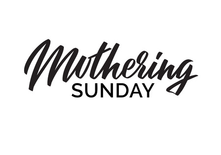 Mothering Sunday writing. Typography, lettering with handwritten calligraphy text isolated on white background. One color vector Illustration Иллюстрация