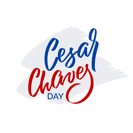 Cesar Chaves day - vector typography, calligraphy, lettering, hand-writing. Isolated on white in two color. For banner, label, tag, poster, wallpaper, flyer, invitation, cutout template.