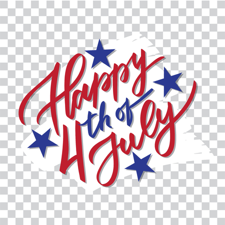 Happy 4th of July - hand-writing, calligraphy, typography, lettering. Vector isolated on white brush stroke background. For greeting card, badge, label, banner, poster, sticker. Иллюстрация