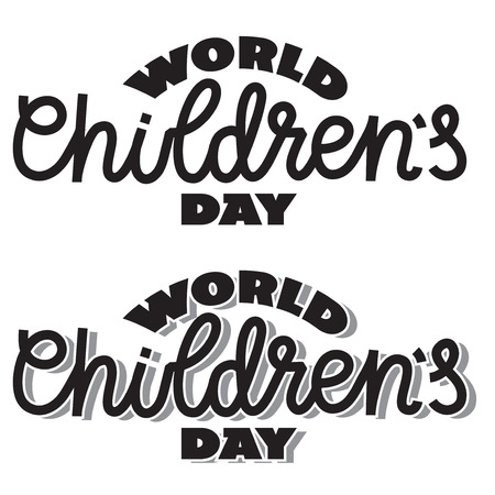 World children's day - text/writing in hand-lettering style. Vector illustration, typography. One and two colors template for cut, cutting machines, poster, banner. Standard-Bild - 123855264