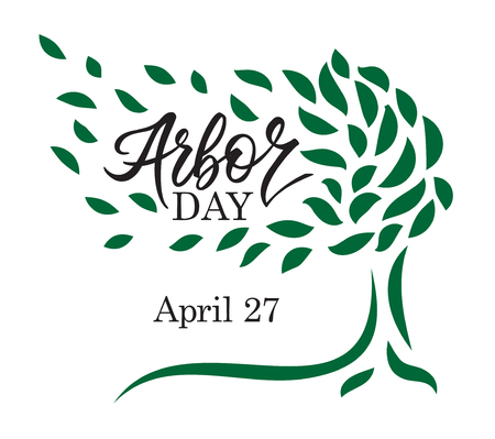 Arbor day words in a tree. Hand-writing, lettering, typography, calligraphy. One color dark-green, with light gray shadow. For poster, banner, card. Illustration