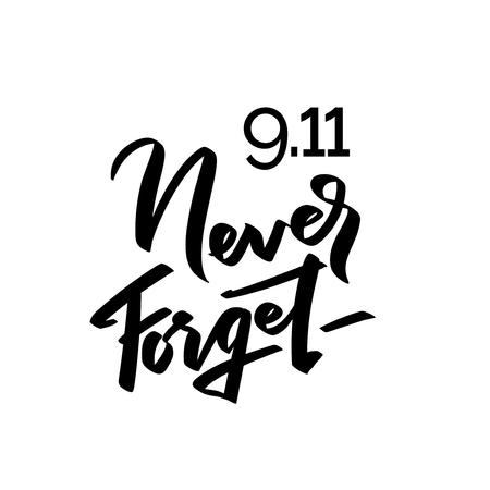 Patriot day typographic emblem. 9-11 logo, We Will Never Forget. Vector illustration. 11 september. Design for postcard, flyer, poster, banner or t-shirt. Vectores