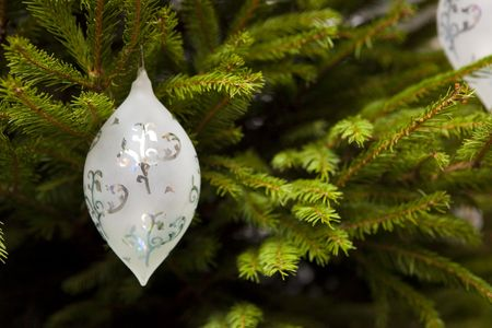 Christmas ball hanging on Christmas tree