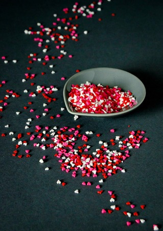Red, pink and white heart sprinkles photo