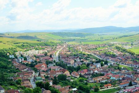 Panorama Rupea city in Transylvania, Romania .