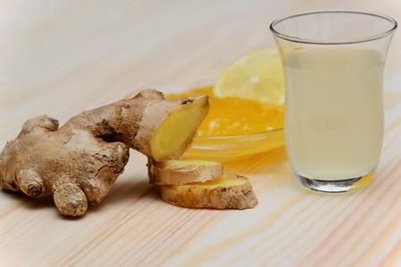 Ginger, ginger tea, lemon and honey Reklamní fotografie