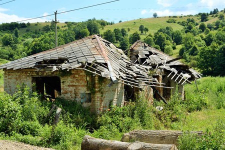 A house destroyed by forces of nature