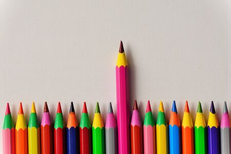 be different: Colored pencils Stock Photo