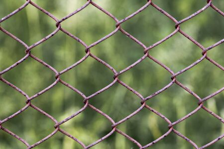 rhomb: Wire fence In the shape of a rhomb Stock Photo