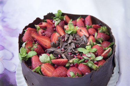 Delicious cake made in the house with chocolate, mint leaf, pomegranate and strawberry 写真素材