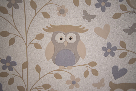 Wallpaper of owls in a children's room 写真素材 - 120370932