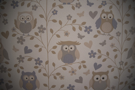 Wallpaper of owls in a childrens room