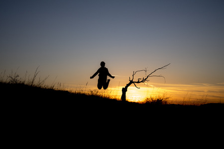 A dry tree on a hill at sunset at the beginning of October and a child jumping into the air