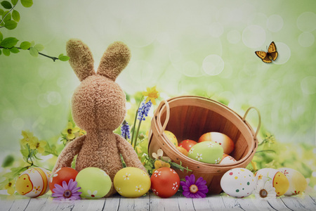 Photo background with bunny and Easter eggs ideal for  Easter Photo Sessions 写真素材