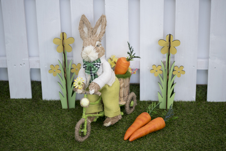 Easter decoration for photo sessions, rabbits in the garden