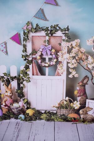 Decor for Easter photo shoots in a photo studio