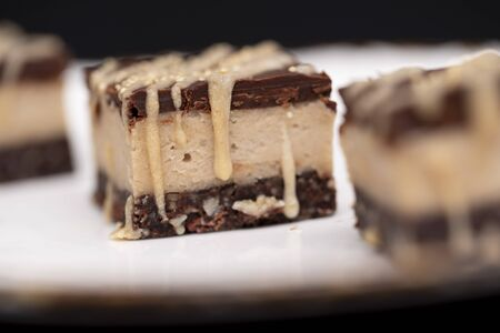 Raw vegan cake with banana and peanut butter, a healthy and delicious dessert