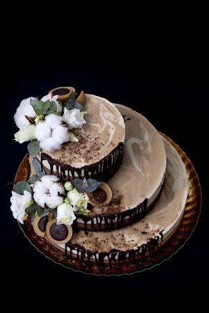 Raw vegan cake with chocolate, vanilla and peanut butter decorated with cotton, flowers and candy raw vegan toffee 写真素材
