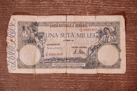 An old banknote from 1946 from Romania worth one hundred thousand lei 写真素材