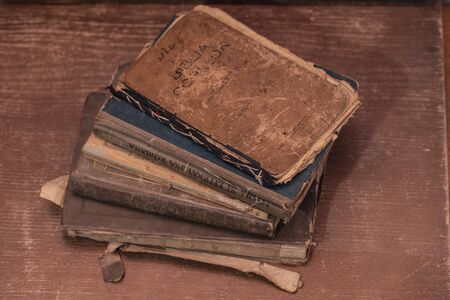 A few books over a hundred years old, religious books and school books 写真素材