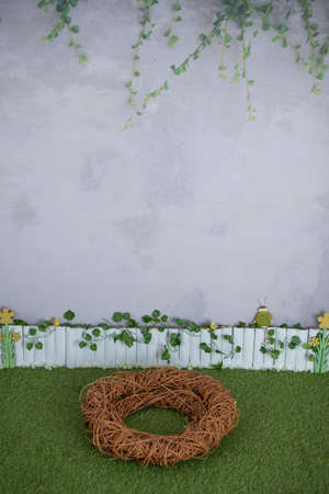 Background for studio photography  with fence, grass, birds, flowers and a nest, suitable for spring and summer