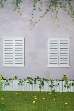Spring and summer background for photo sessions in the studio with fence, windows and plants Stock Photo