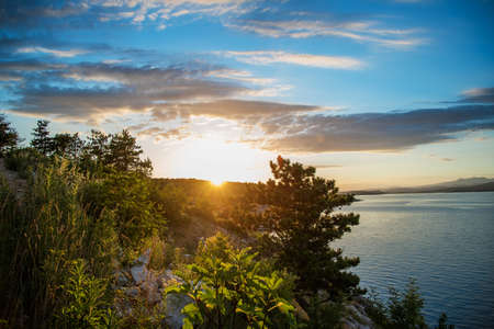 Sunset view from the island of Krk, Croatia, Silo village