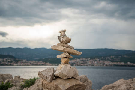 Stone tower and  and the view of Crikvenica, Croatia