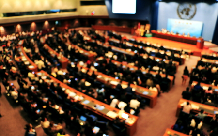 blurred photo meeting. People  meeting to share the ideas for peace.Thailand. Banco de Imagens