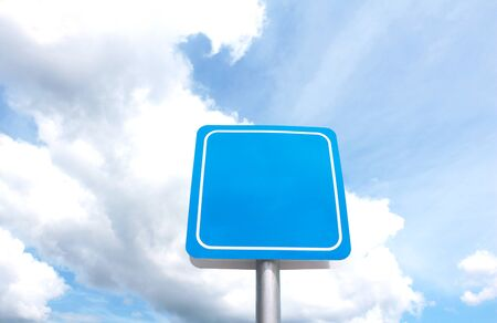 sign pole post.pole on Cloud and blue sky background.