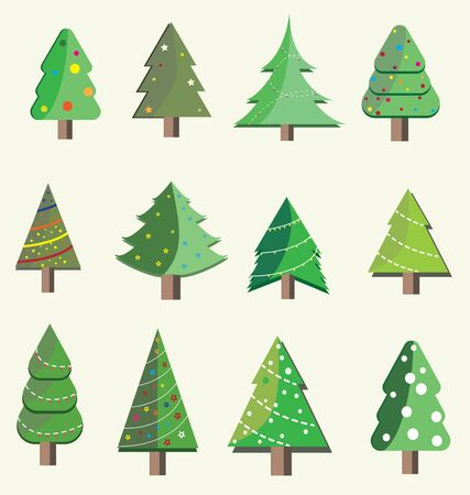 Set of Christmas Trees.They are on color Pastel background.The trees set up and decorated with lights and ornaments as part of Christmas celebrations.Party,festival,Vector carnival and Isolate concept