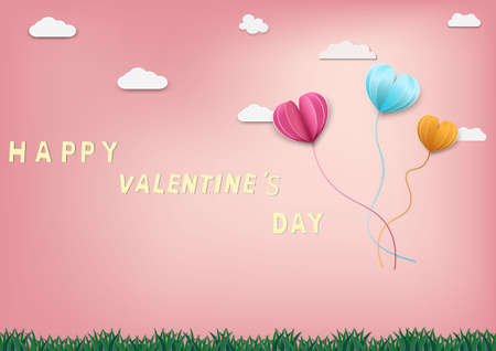 Paper art of love and Origami made air balloon heart shape flying with valentines day label.They are in the air with copy space.Mother's Day,Happy Women,Vector Valentine's Day and paper cut concept.