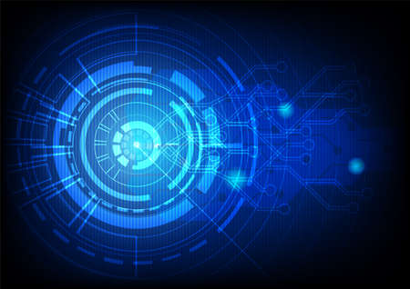 Abstract blue technology background.Vector circle and electricity line with blue electronic cycle.Digital data,circuit board, Scientific background,Digital art and Abstract background concept. Vettoriali
