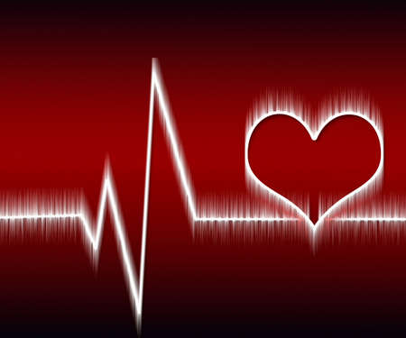 heart and heartbeat symbol on reflective surface Stock Photo - 8531299