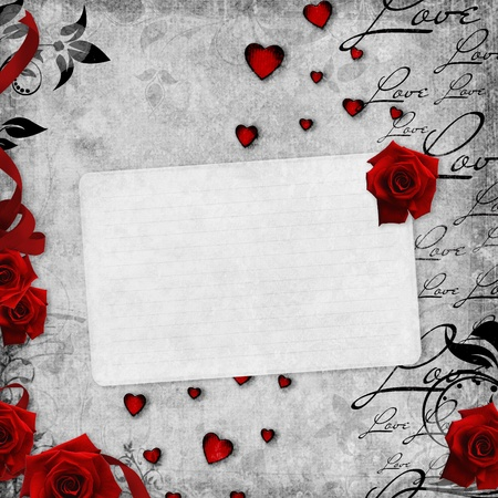 romantic background: Romantic  vintage background with red roses and text love (1 of set)